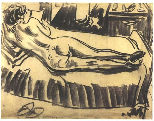 """Reclining female nude on a couch"""